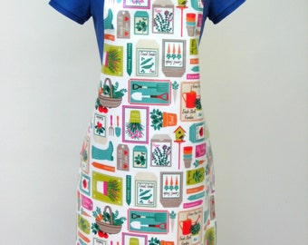 Gardening Print Adult Oilcloth Apron, PVC Apron, Waterproof Apron, Protective Apron, Cottage Chic Apron