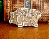 Running Elephant Stamp: Hand Carved Wood Printing Block, Clay Stamp, Ceramic Textile Pottery Stamp, Bohemian India Decor