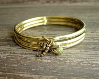Dragonfly Bracelet Set, Shiny Gold Stacked Bracelets, Jasper Stone Bead, Gypsy Jewelry, Bohemian Indian Bangles, Boho Bracelet Set India