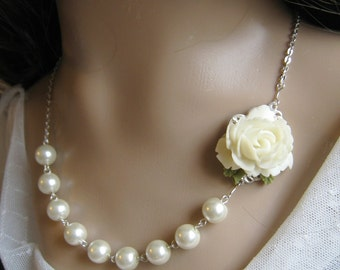 Rose pearl necklace, bridal, bridesmaids necklace, wedding jewelry - F011 (Choose your pearl colour)