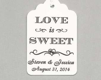 Love is Sweet  Personalized Handmade Tags-Wedding Wish Tags-Honey jar Jelly/Jam tags-Favor tags