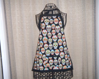 Happy Day of the Dead Heads Child Apron smiling day of the dead heads