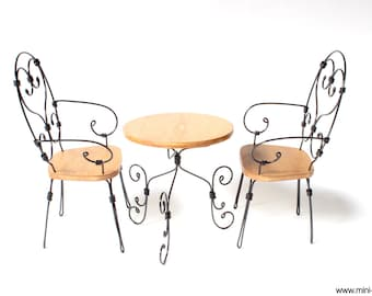 1/6 scale Table and Chairs Wrought Iron French bistro miniature furniture set for Fashion dolls (Blythe, Barbie, Pullip, BJD, Momoko).
