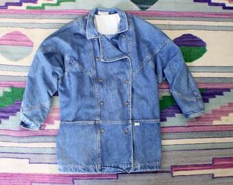 Guess Light Wash Denim Jean Jacket / Vintage Snap Front Hip Length Coat