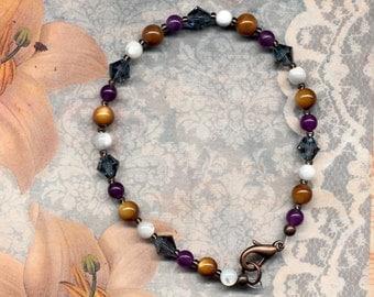 SALE - CLEARANCE - Denim Blue Crystal and Shell Bracelet