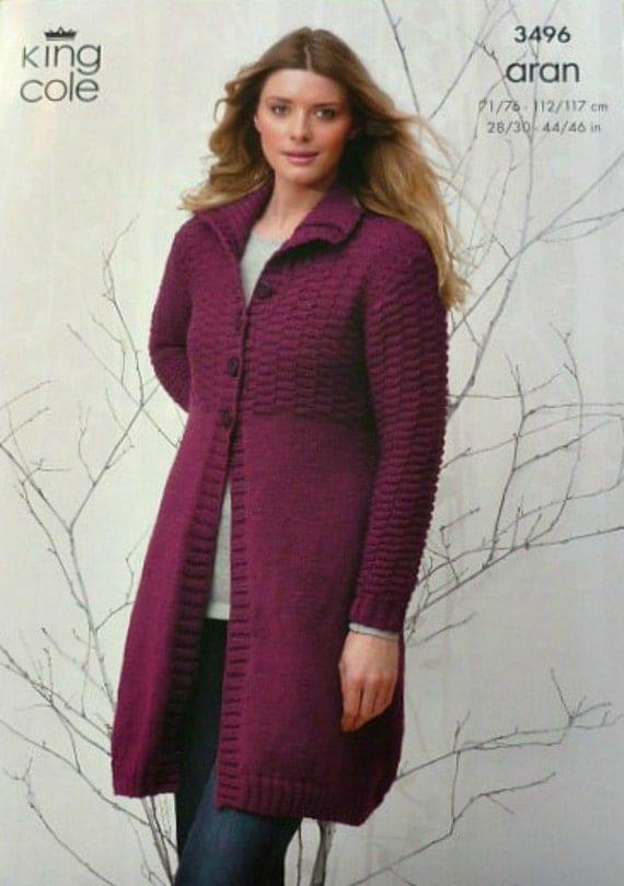 K3496 Ladies Long Sleeve Cropped Cardigan with Hood Knitting Pattern Aran (Wo...