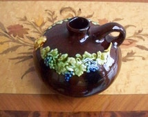 Peters and Reed Pottery Jug Pitcher Standard Glaze Decorated Grape Motif 1910's Country Kitchen Cottage Chic