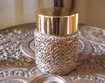 Vintage Gold Filigree Jar Intimate Goldenrod Filigree by Revlon Whipped Creme Perfume HollyWood Regency