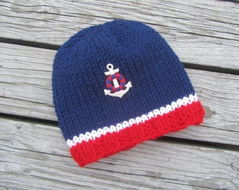 Sailor Hand Knit Baby Hat, Anchor Knitted Baby Hat, Red White Blue Knit Baby Hat