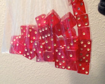Bag of 42 red vintage bakelight dice