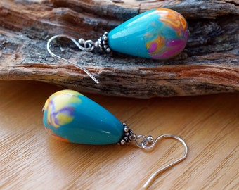 Earrings Polymer Clay Turquoise Flower Drops Sterling Silver