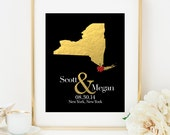 Custom Wedding Gift for Couple Personalized Bridal Shower Gift for Bride Gift for Engagement Gift for Couple Faux Gold Foil - ANY STATE