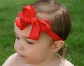Red Baby Bow Headband - Bow Headband - Infant Headband