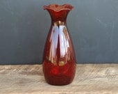 "Vintage Anchor Hocking Ruby Red Ruffle Top 6 1/2"" Vase"