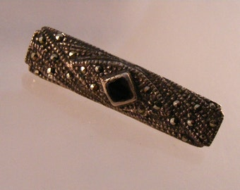 Antique Victorian Onyx and Marcasite Bar Pin Brooch...Lot 3452
