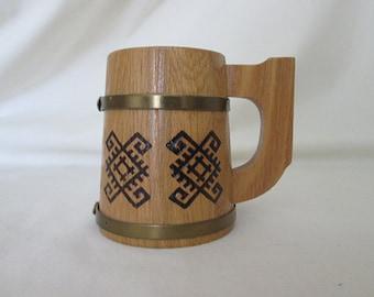 Sale***Vintage Wooden Folk Art  Mug - Small Size - Metal Bands - Original Labels