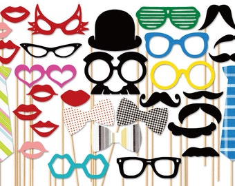 Photo Booth Prop - 31 piece Party Photo Props set - Wedding Photobooth Props - Birthday