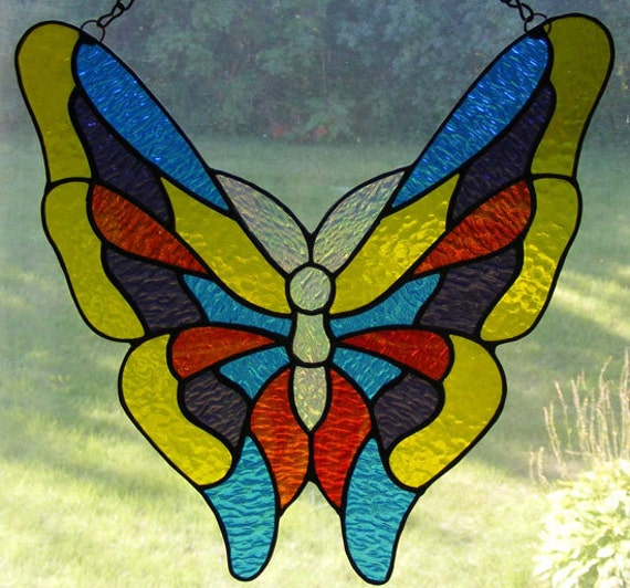 Stained Glass Butterfly Yellow Blue and by ...