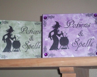 Potions and Spells Witch Halloween Wooden Block Decoration