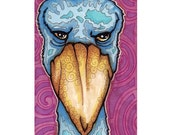 ACEO Original Blue Shoebill Portrait, Original Mini Art