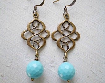 Turquoise Earrings/Infinity Knot Earrings/Turquoise Blue Earrings/Gifts For Her/Bridesmaid Earrings/Aqua Blue Earrings/Mother's Day Gift