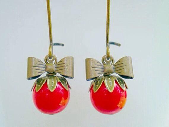 Tomato Red Czech Glass Sweet Pea Earrings/Red Earrings/Bow Earrings/Czech Glass Earrings