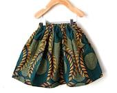 Girls African Print Elasic Waist Skirt in Beautiful Cotton