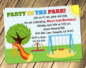 Park Birthday Party Invitation Print Your Own