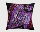 "Decorative Pillow case, Felted wool Throw pillow case, Black Purple color, fits 18"" x 18"" insert, Toss pillow case, Cushion case, Home Decor"