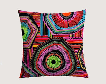 "Decorative Pillow Case, Multicolored Abstract Patterned cotton Designer Alexander Henry fabric Throw pillow case, 18"" x18"", Toss pillow case"