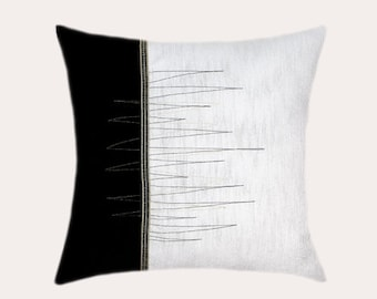 "Decorative Pillow Case, Black-White Throw pillow case with gold-black accent, fits 18""x18"" insert, Toss pillow case."