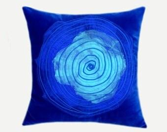 "Decorative Pillow Case, Spiral design Throw pillow cover, Royal Blue, Light Blue colors, fits 18""x18"" insert, Toss pillow case, Cushion case"
