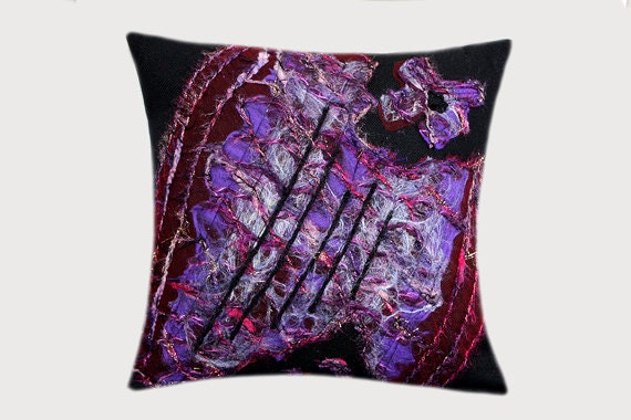 "Decorative Pillow case, Felted wool Throw pillow case, Black Purple color, fits 18"" x 18"" insert, Toss pillow case, Cushion case, Home Decor"