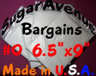 "25 MADE in America 6x10 Extra Wide Poly Bubble Mailers-Top Quality - Tough - X-Wide 6.5"" - #0 Size"