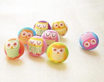 Owl Magnets or Push Pin Thumb Tack Drawing Pin Gift Set 8 in a matching Gift Tin Pastel Rainbow Pinks Blues Yellows