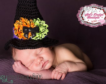 Newborn witch hat , crochet witch hat , halloween crochet hat , baby girl photo prop, Halloween photo prop, baby witch hat, ready to ship