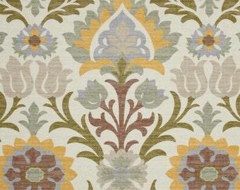 Two 26 x 26  Custom Designer Decorative Pillow Covers  - Waverly Santa Maria Pebble - Ikat - Olive/Yellow/Brown/Sage Green
