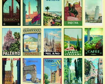 "Vintage Italian Poster 20"" x 28"" (50 x 70 cm) TRAVEL ITALY Collage"