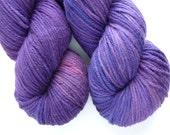 Worsted Yarn - Hand Dyed Superwash Merino Wool in Deep Amethyst Colorway