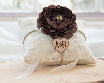 Brown ranunculus flower burlap personalized ring bearer pillow  shabby chic with engraved heart  initials... many more colors available
