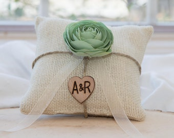 Mint Ranunculus flower custom ivory burlap ring bearer pillow  shabby chic with engraved heart  initials... many more colors available