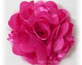 "Hot Pink Hair Flower - Shocking Pink Hair Flower - Hair Clip or Brooch - Shocking Pink Flower Clip - 3"" OLIVIA FLOWER - Satin Hair Flower"