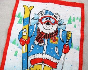 1991 Ski Patrol Calendar Tea Towel / 1991 Calendar Tea Towel / Polar Bear Tea Towel