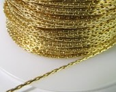 5 Feet Polished Gold-Plated 1mm Beading Chain Ch224