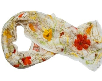 Wearable art, cobweb, wool scarf, felted wrap, shawl, white, orange, yellow, green, for her, spring trends, floral, fashion, wedding, prom