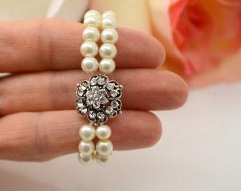 Vintage style art deco swarovski crystal  flower girl gift stretchy cuff bracelet for little princess' wedding jewelry cuff bracelet