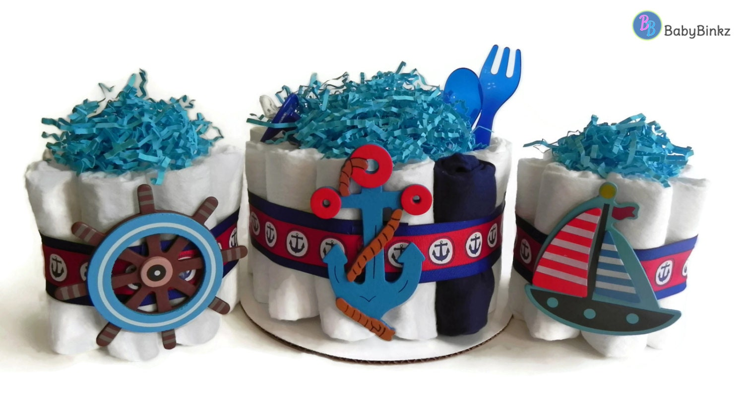 Diaper cake party pack nautical anchor sailboat boat for Anchor decoration party