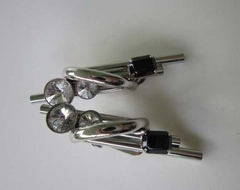 Vintage ASTEE Modernist Art Deco Rhinestone Clip on Silver tone Earrings