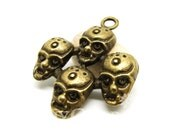 Antique Bronze Tone Four Ghost Skull Of A Devil Team Charms 31x37mm - 10Pcs - DC00160