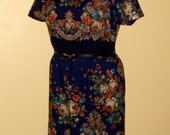 Floral wool Dress from Russian shawl